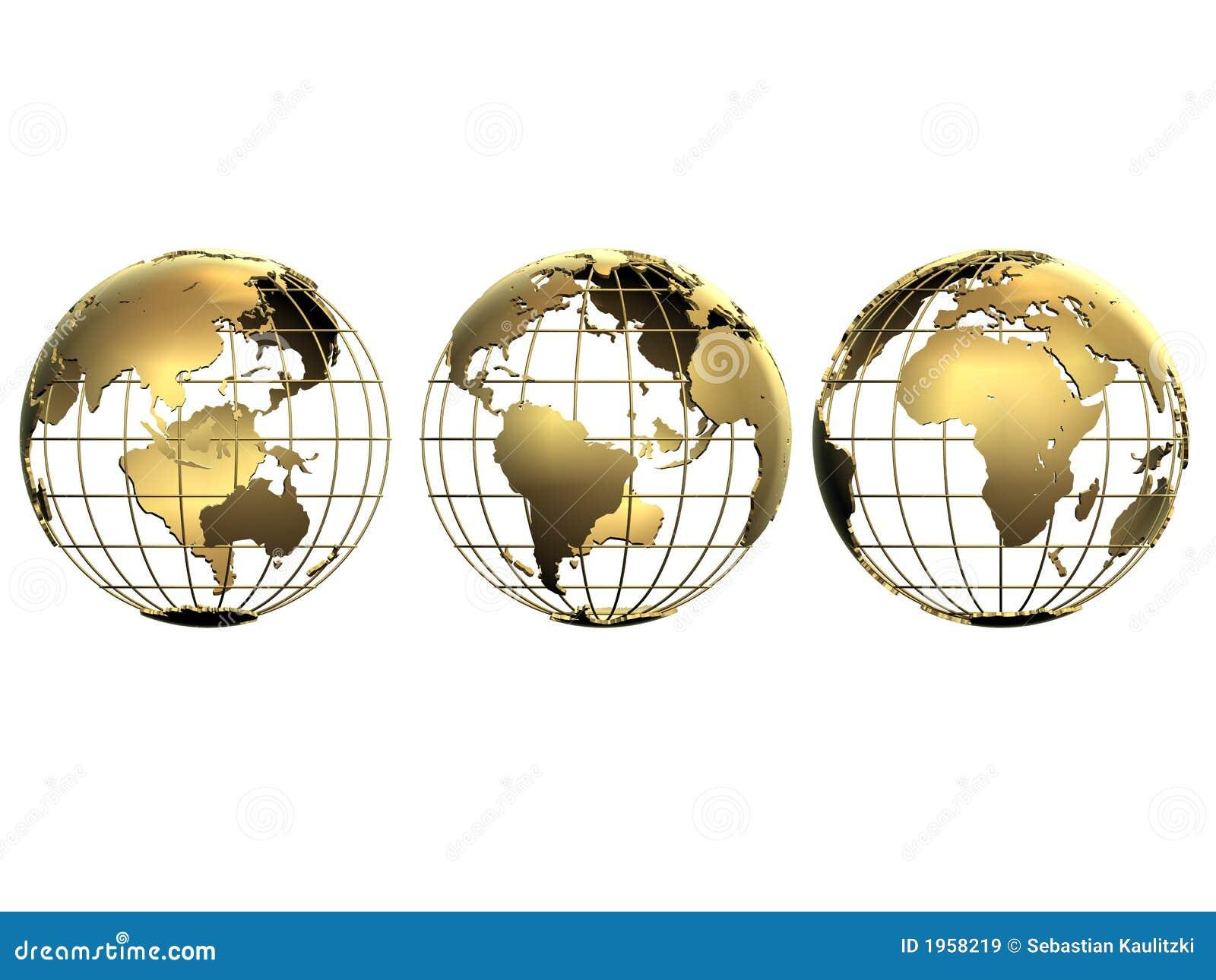 Trzy małe globusy