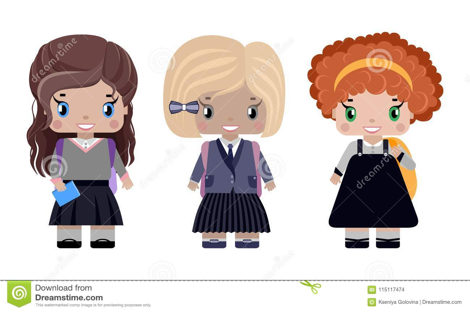 Trzy małej dziewczynki w różnych mundurkach szkolnych