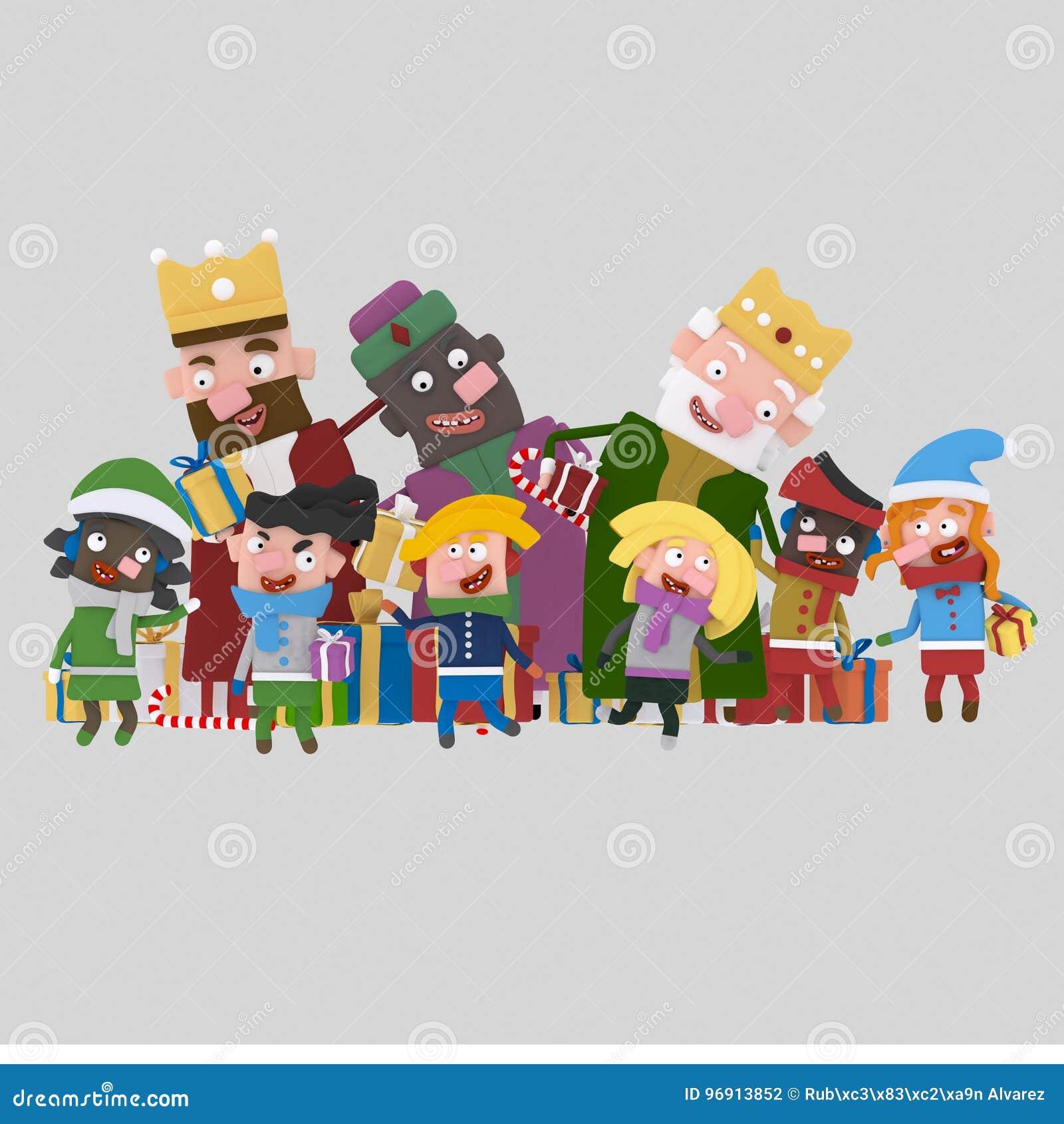 Trzy Magicznego królewiątka gifting dzieci 3d