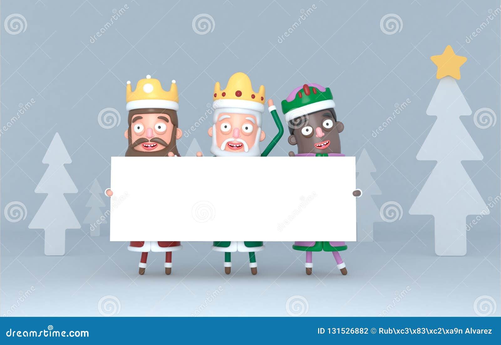 Trzy Magicznego królewiątka trzyma białego plakat Odizolowywający w lesie ilustracja 3 d