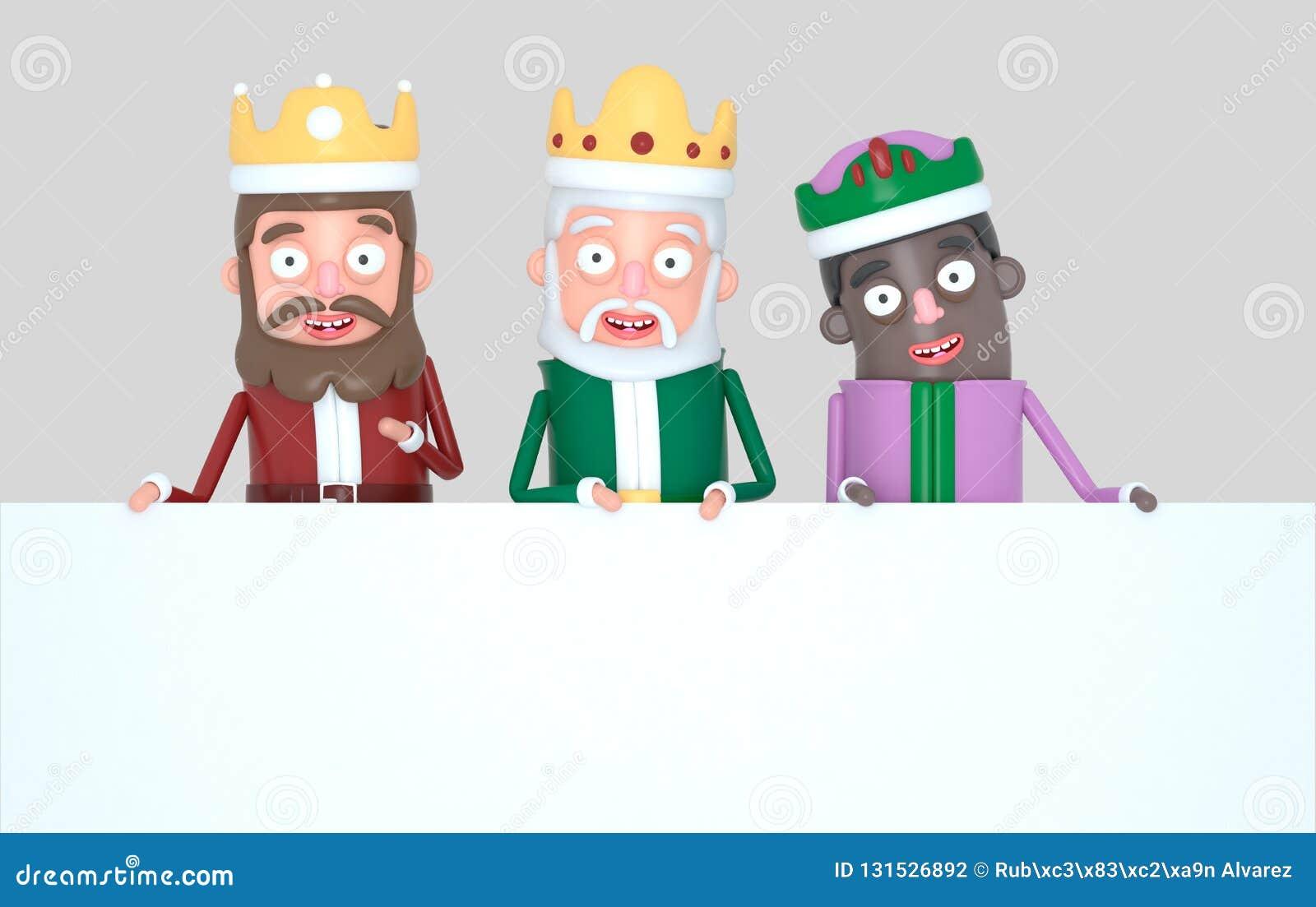 Trzy Magicznego królewiątka trzyma Białego plakat odosobniony ilustracja 3 d