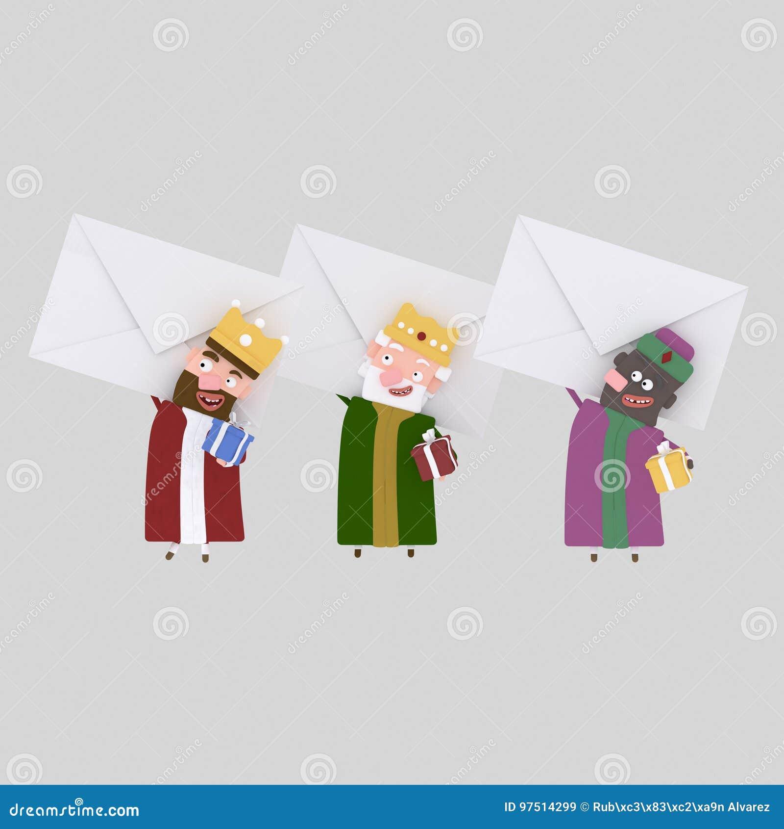 Trzy Magicznego królewiątka trzyma dużych listy 3d