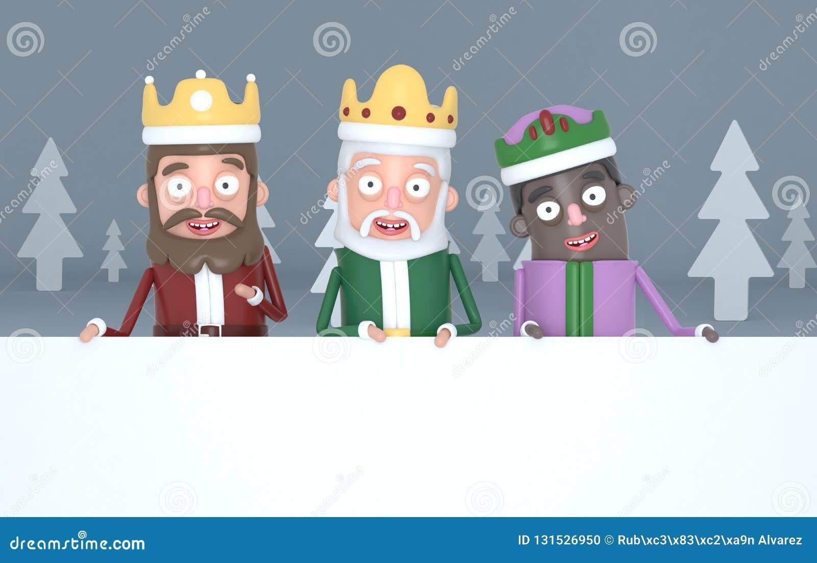 Trzy magicznego królewiątka trzymający dużych białych plakaty w popielatym lesie ilustracja 3 d