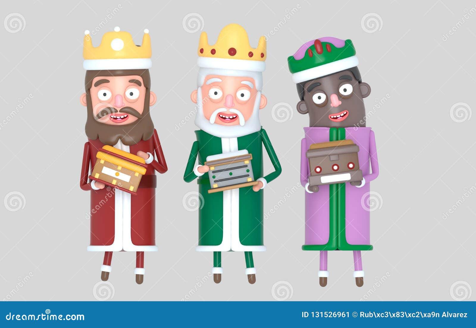 Trzy magii królewiątka pozycja odosobniony ilustracja 3 d