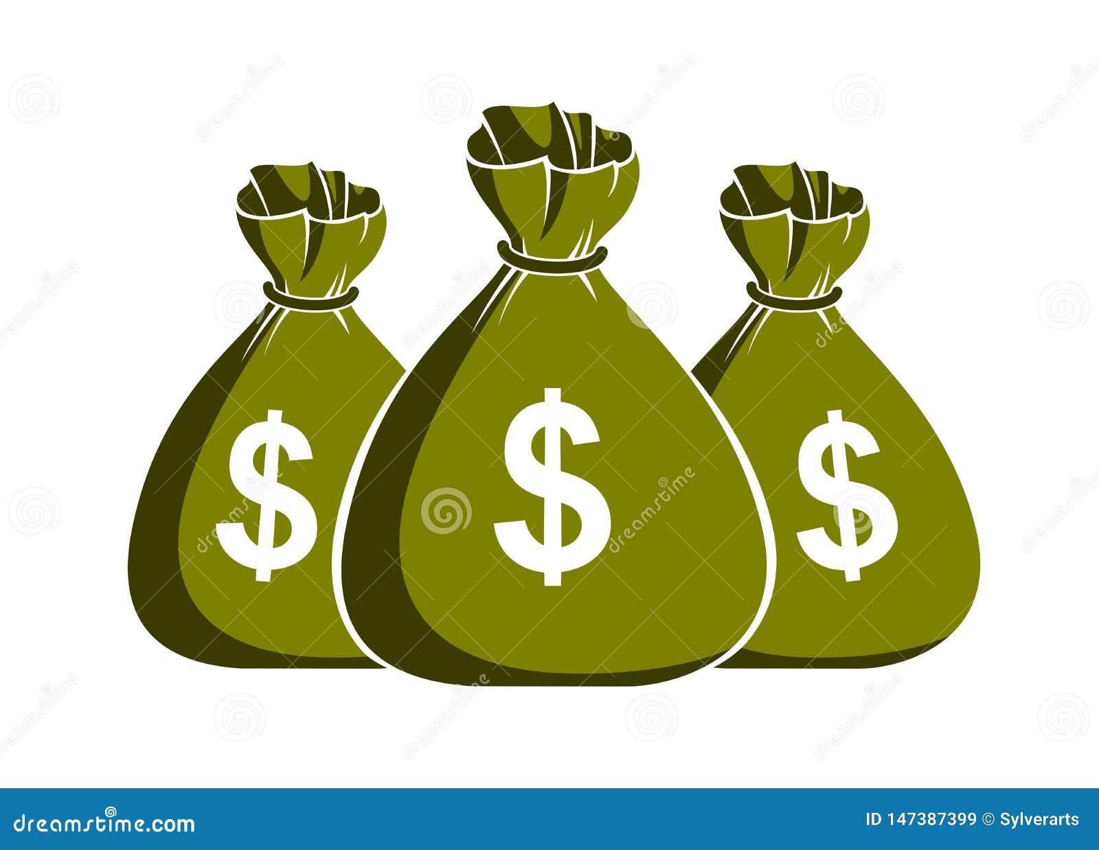 Trzy moneybags pieniądze torby wektorowa symplicystyczna ilustracyjna ikona lub temat logo, biznesu i finanse,