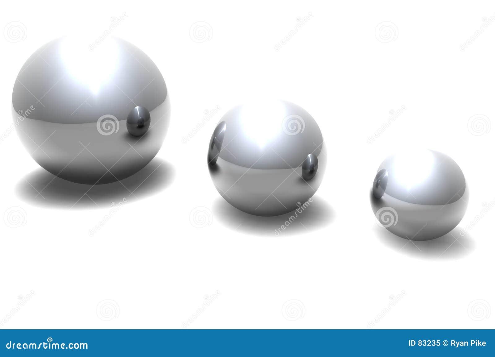 Trzy piłki metalowe