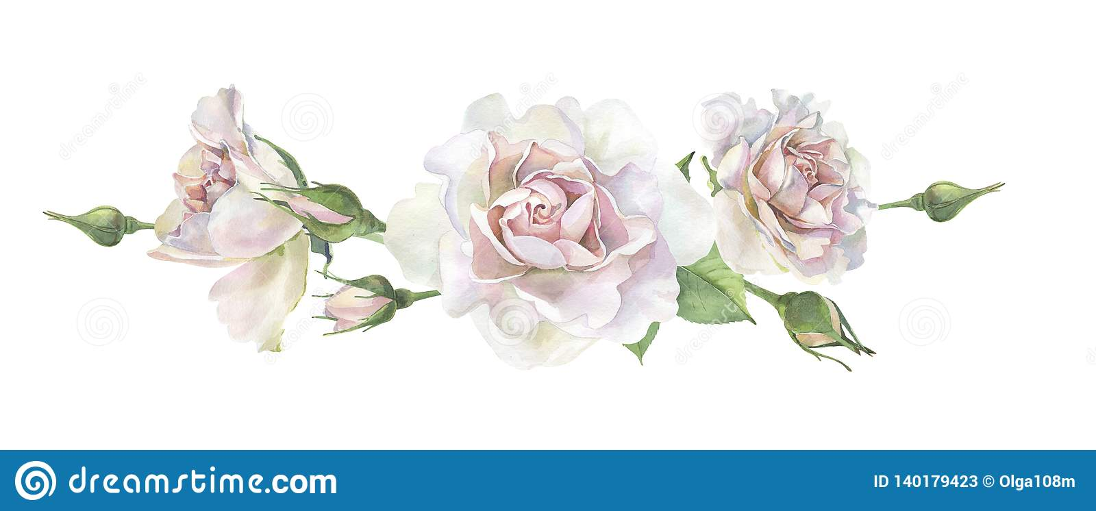 Trzy różowej akwareli róży