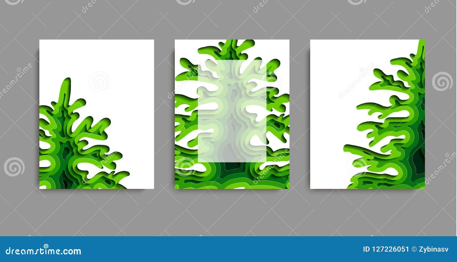 Trzy reklamowej ulotki na temacie ekologia lub plakaty Tło w papieru cięcia stylu Papierowa sztuka w wektorze