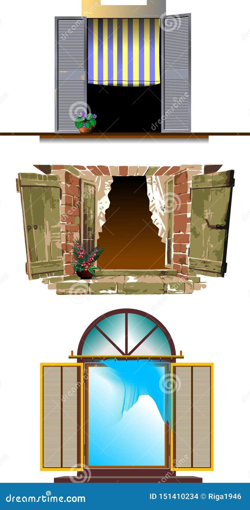 Trzy rodzaju Odsłonięty okno
