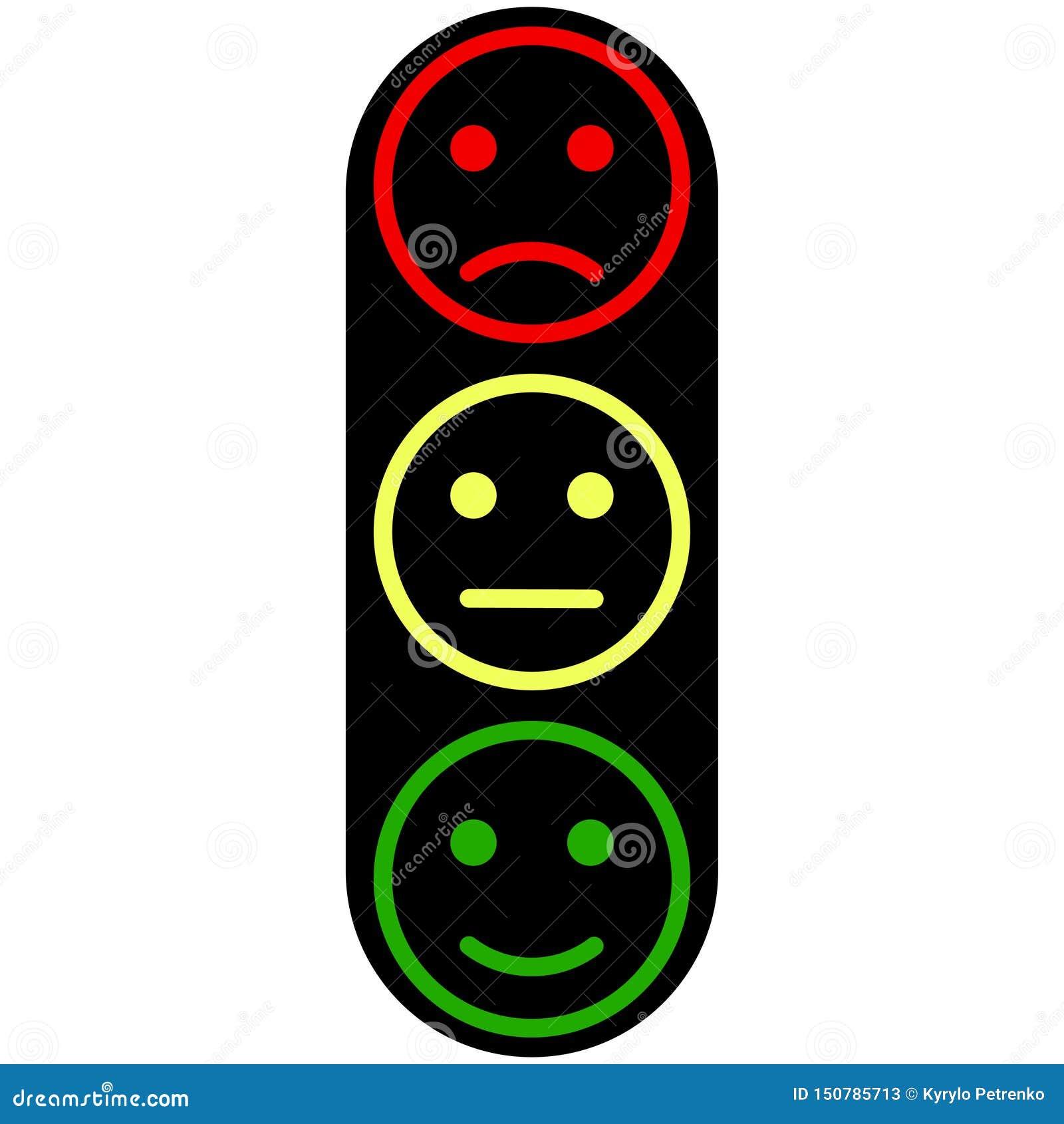 Trzy smiley twarzy żółtego czerwonego zielonego koloru