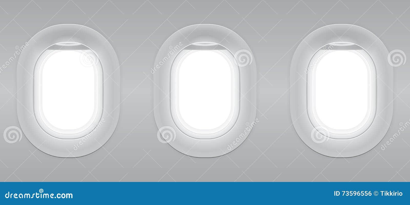 Trzy szarość okno pusty samolot