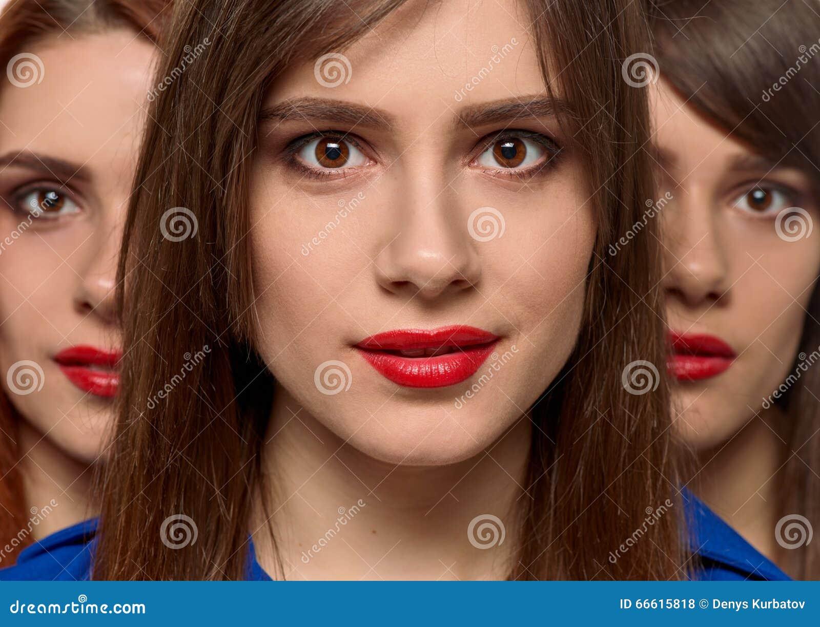 Trzy Urok Kobiet Twarzy Trójwiersz Siostry Zdjęcie Stock