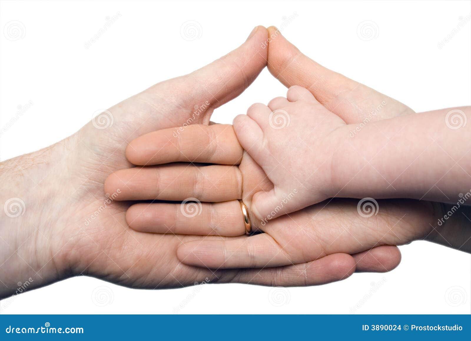Trzymaj ręce dziecko ręce odizolowanych rodziców s