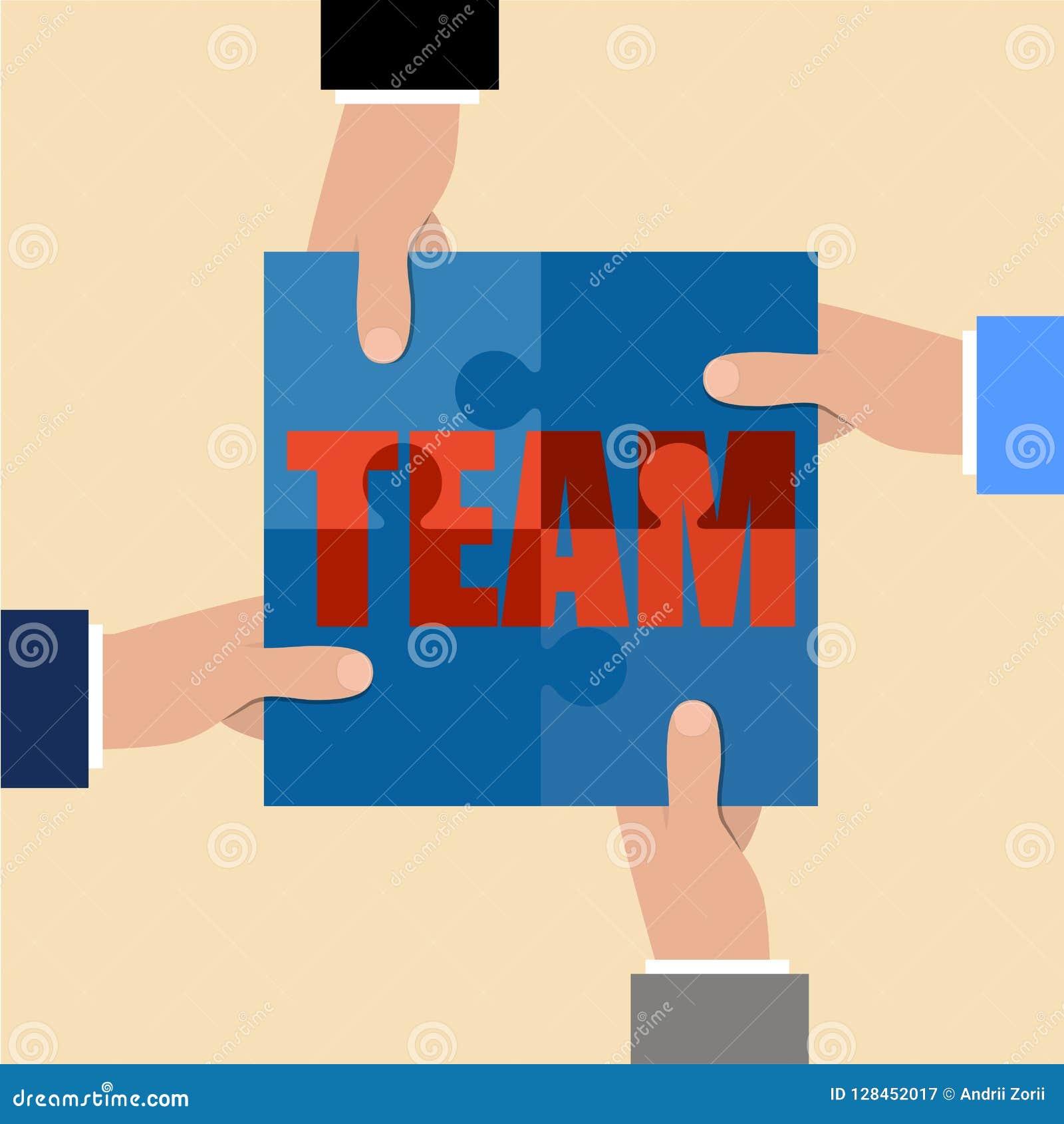 Trzymaj ręce komunikacyjnych koncepcyjnych obraz puzzle Kawałki wpólnie Pracy zespołowej pojęcie Biznesowa partnerstwo metafora R