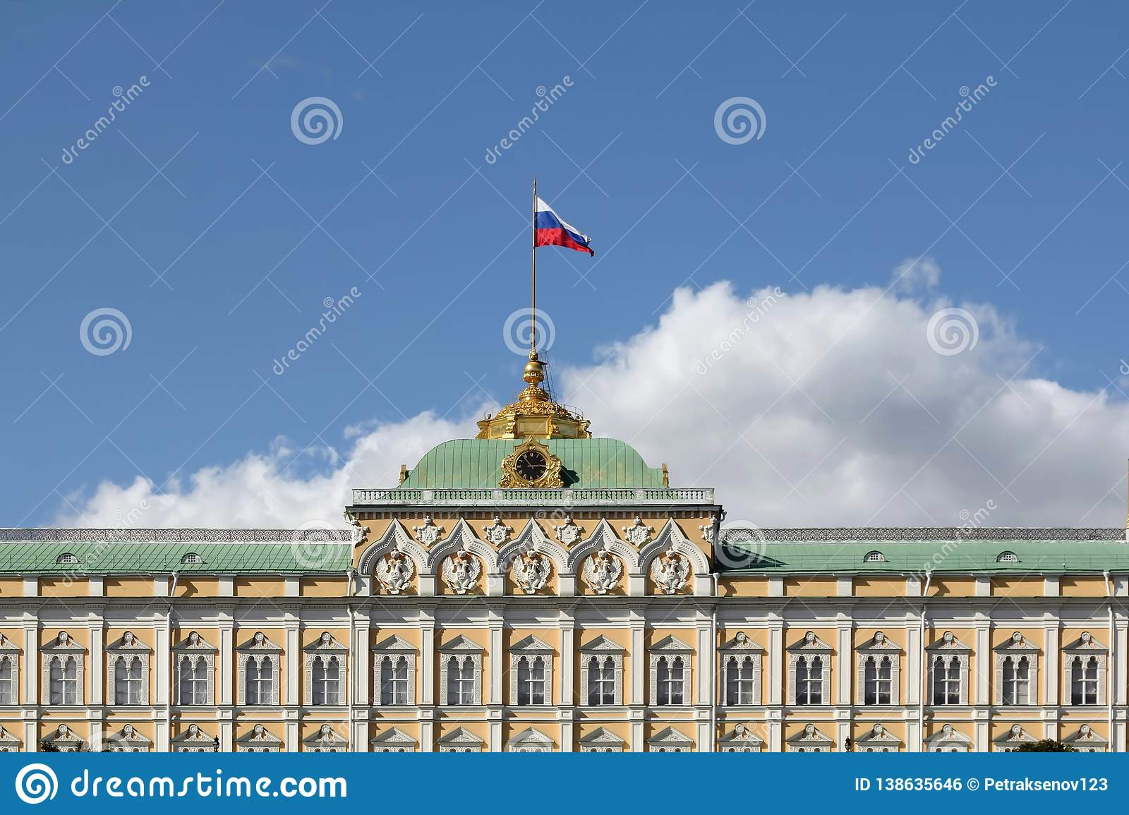 Grand Kremlin Palace in Moscow in July. Upper part of the building