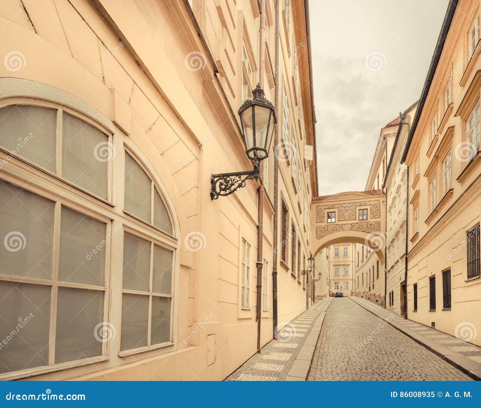 Tschechische Republik - alte Stadtstraße in der Stadt von Prag