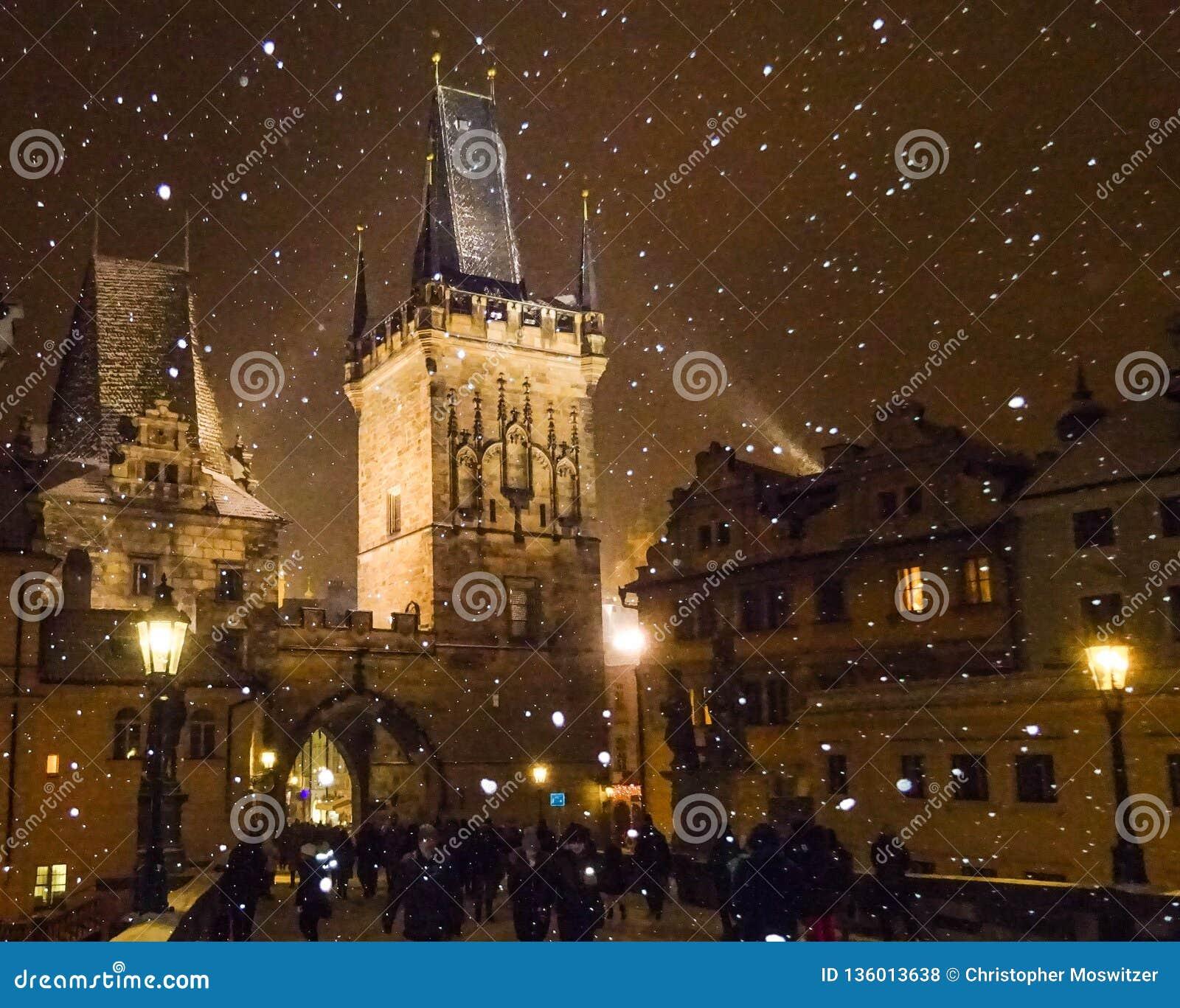 Tschechische Republik - schneiend in Prag