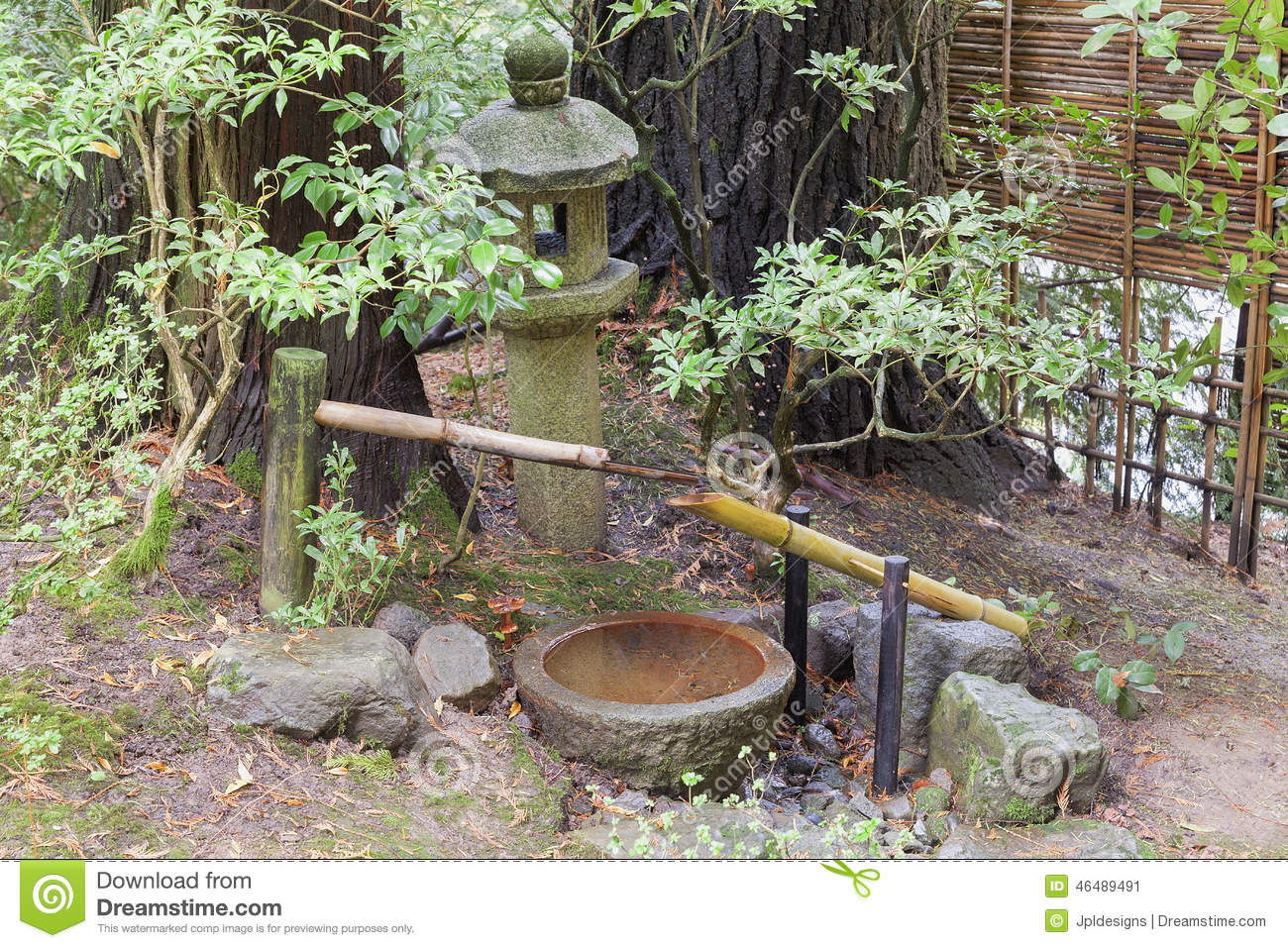 Tsukubai water fountain and stone lantern in japanese garden stock photo image 46489491 - Shishi odoshi bamboo water feature ...