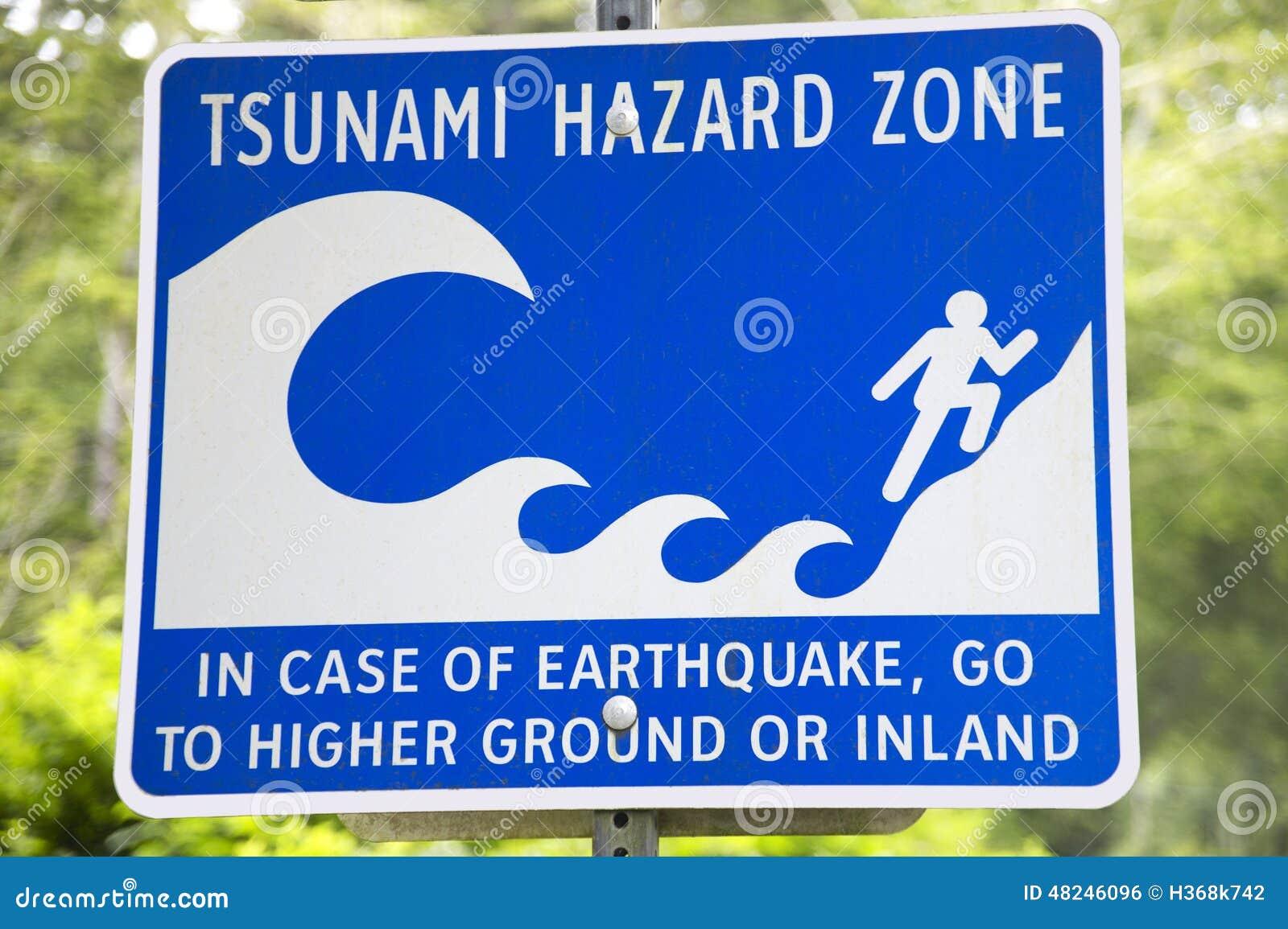 tsunami and earthquake hazard zone signal in vancouver  canada stock photo