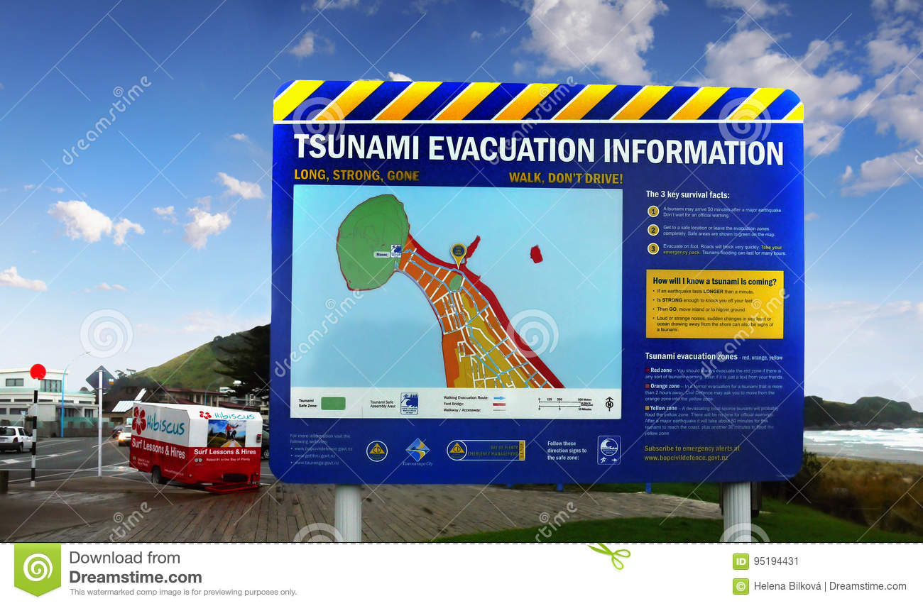 Tsunami Evacuation Information Warning, New Zealand Editorial Photo