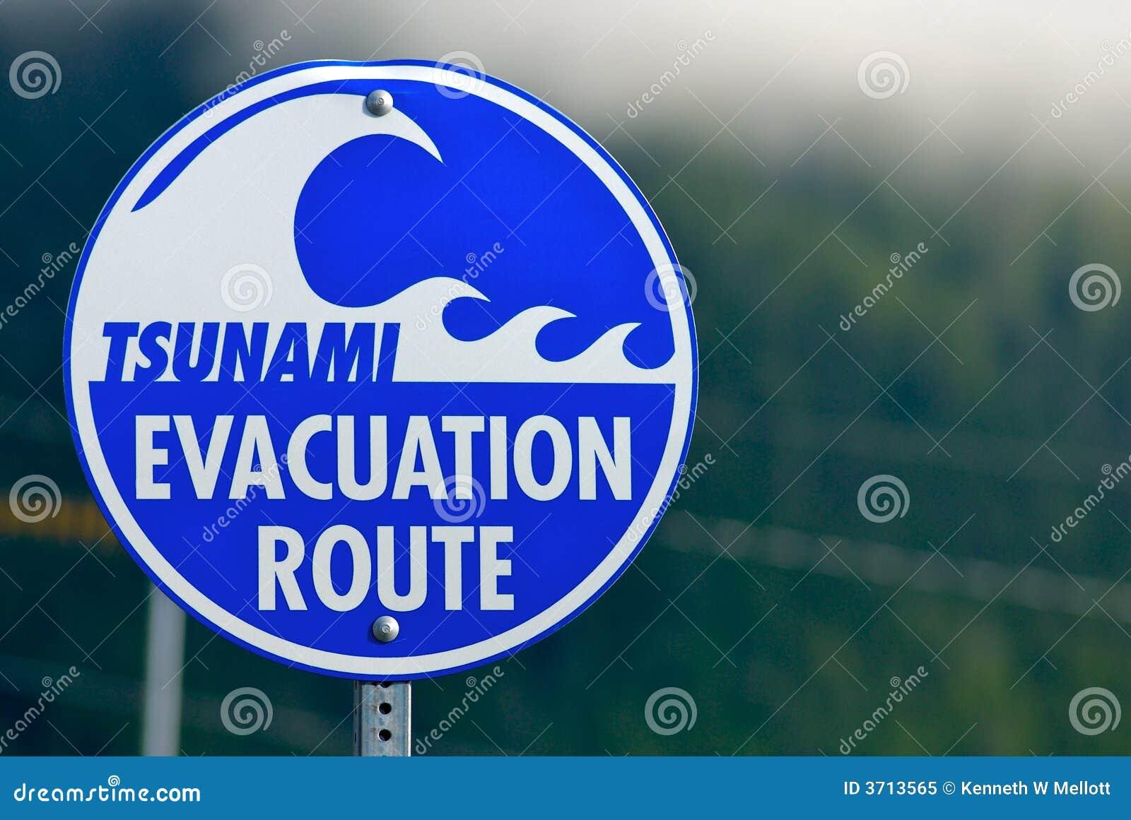 Tsunami ewakuacji, znak ostrzeżenie