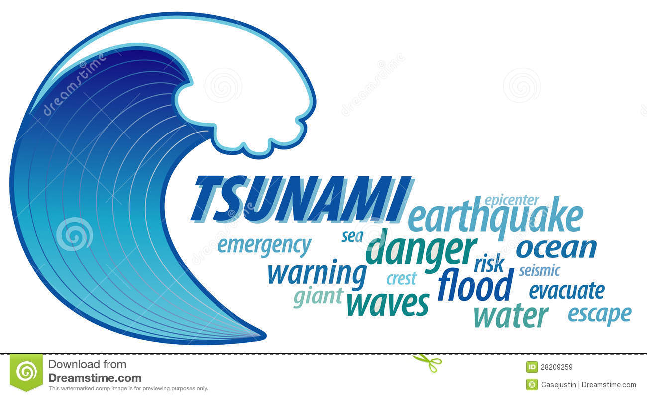 Tsunami Giant Wave, Word Cloud Royalty Free Stock Images ...