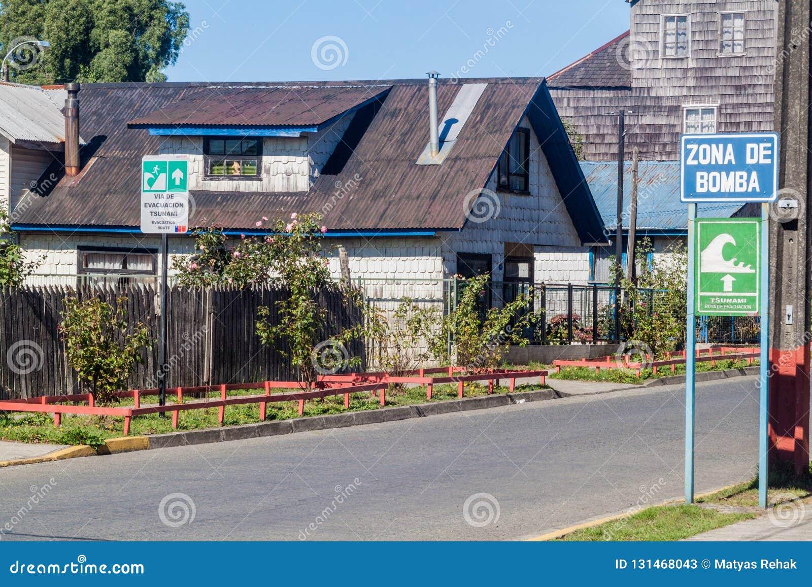 Tsunami Hazard Zone Signs in Curaco de Velez village, Chi