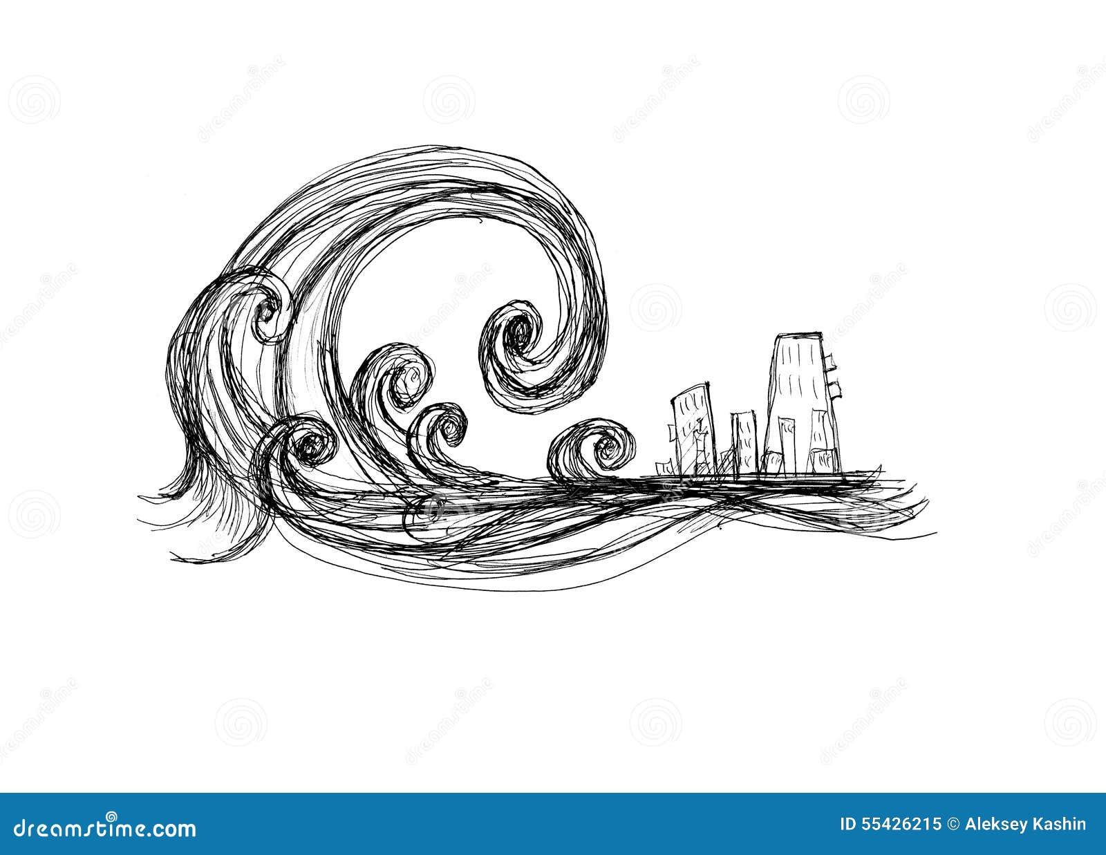 Tsunami Stock Illustration - Image: 55426215