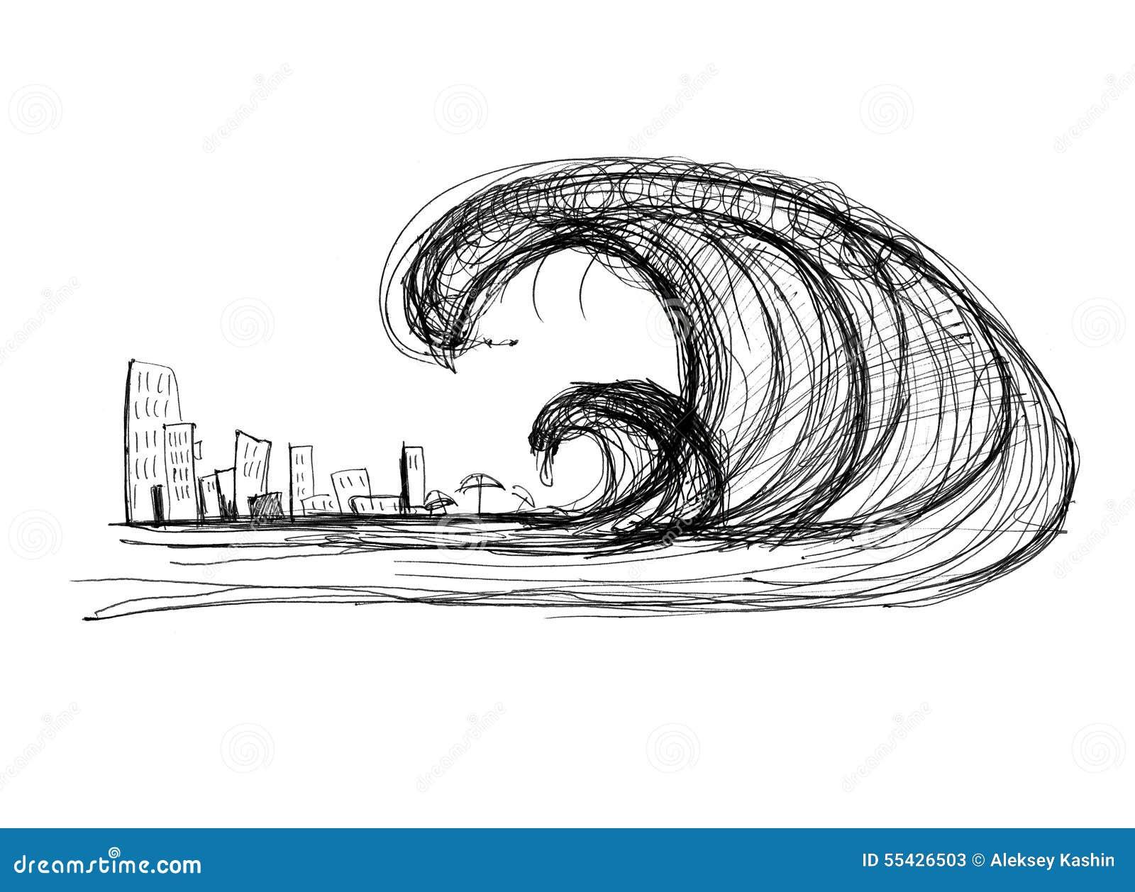 Tsunami Stock Illustration - Image: 55426503