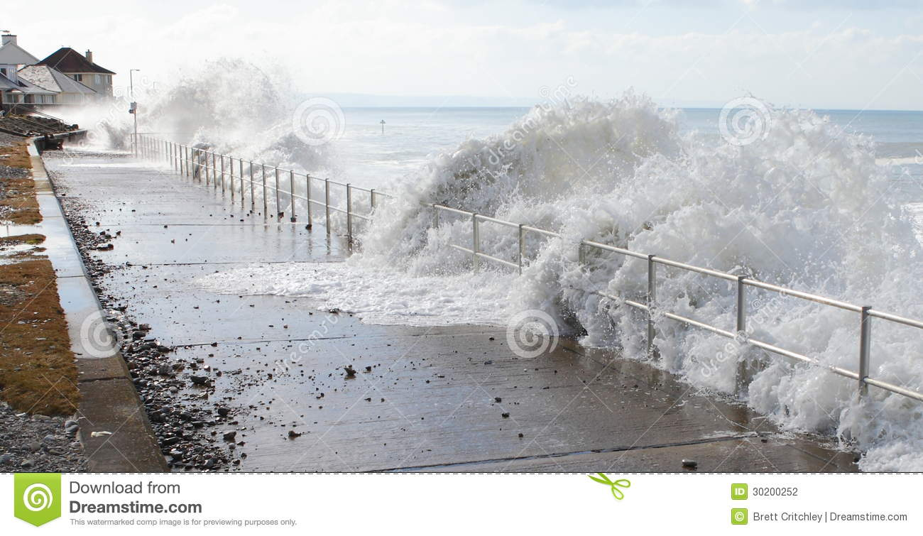 Waves of sea water tsunami