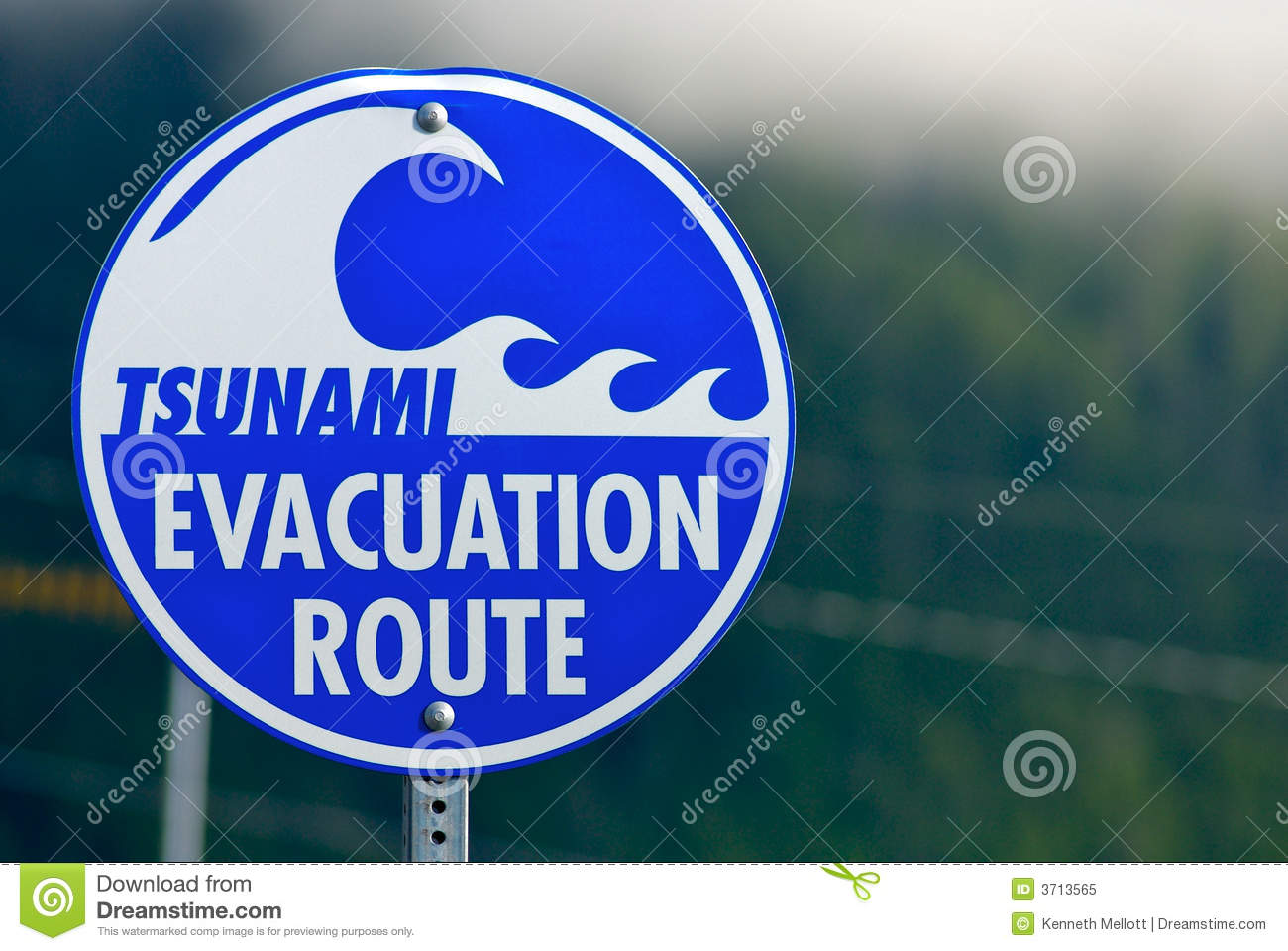 Tsunami Warning Evacuation Sign Stock Image - Image of debris