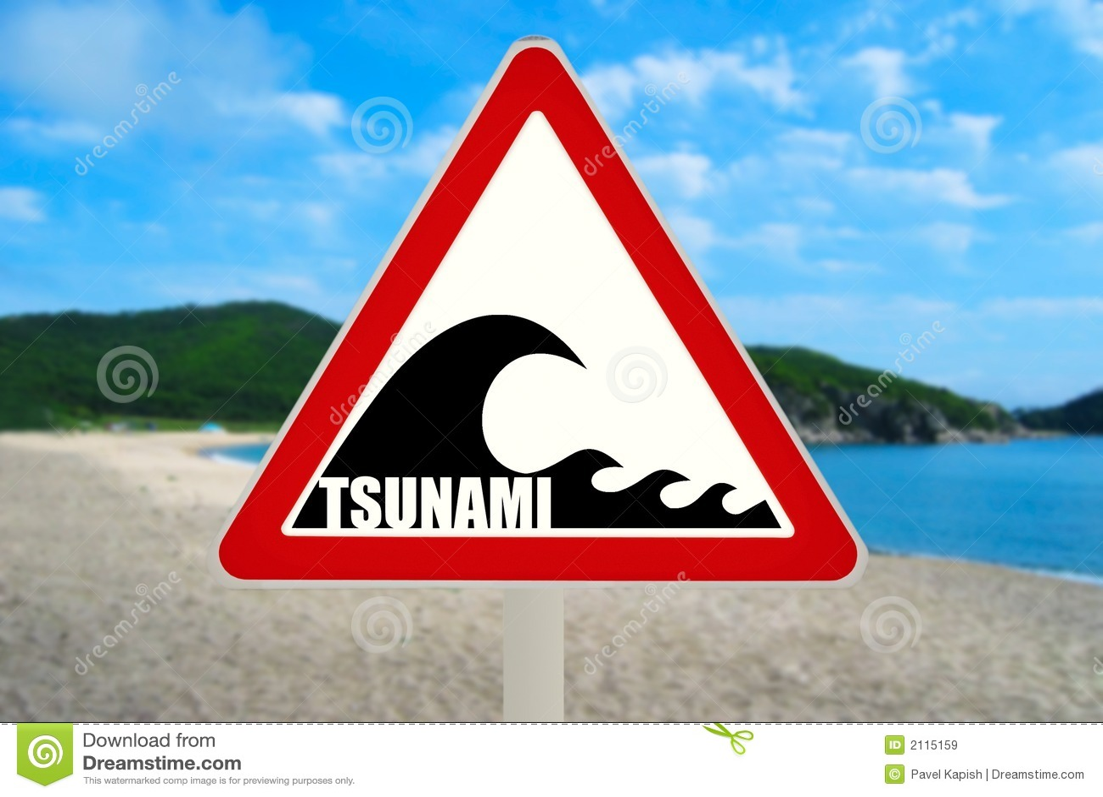 Tsunami Warning Sign stock image  Image of tourism, advice