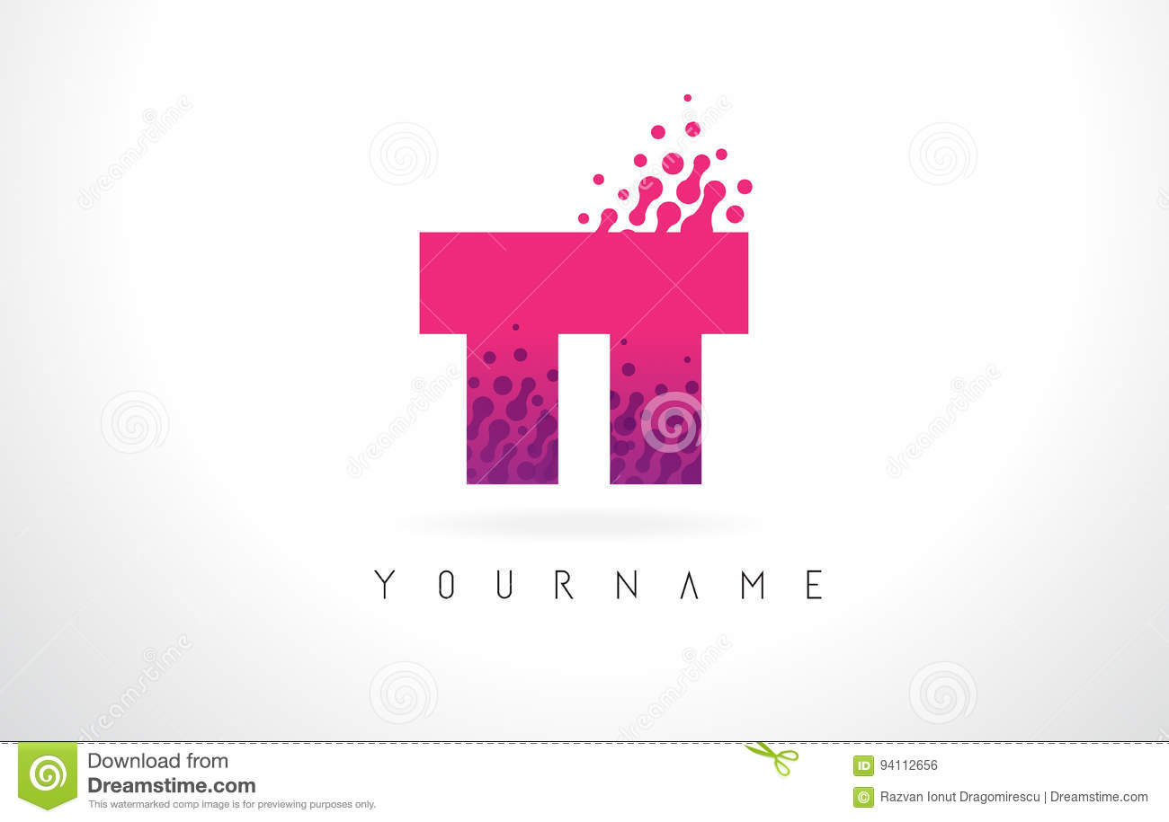 TT T Letter Logo With Pink Purple Color And Particles Dots Desig ...