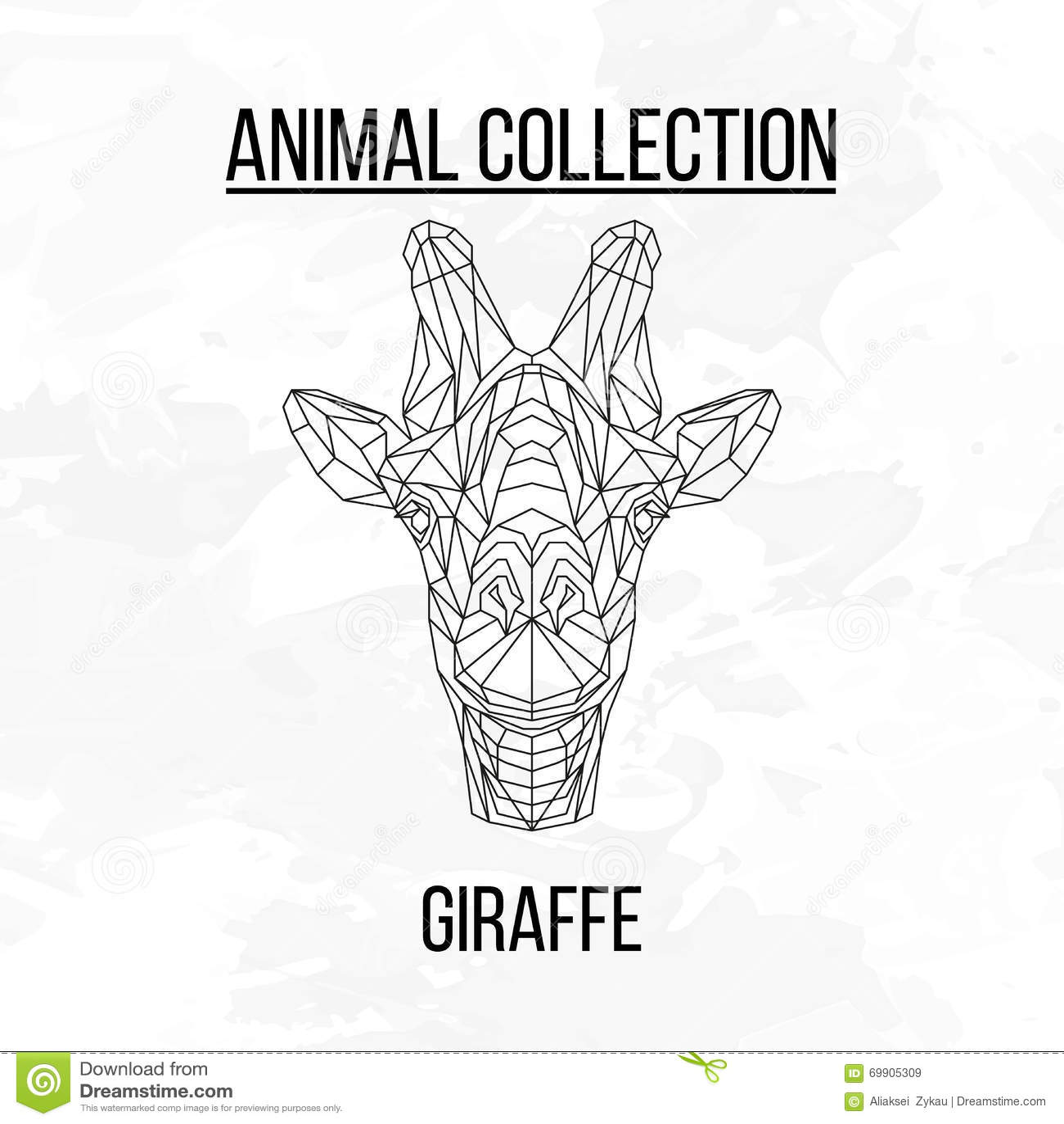 Geometric Animal Drawing Tête Géom&#2...