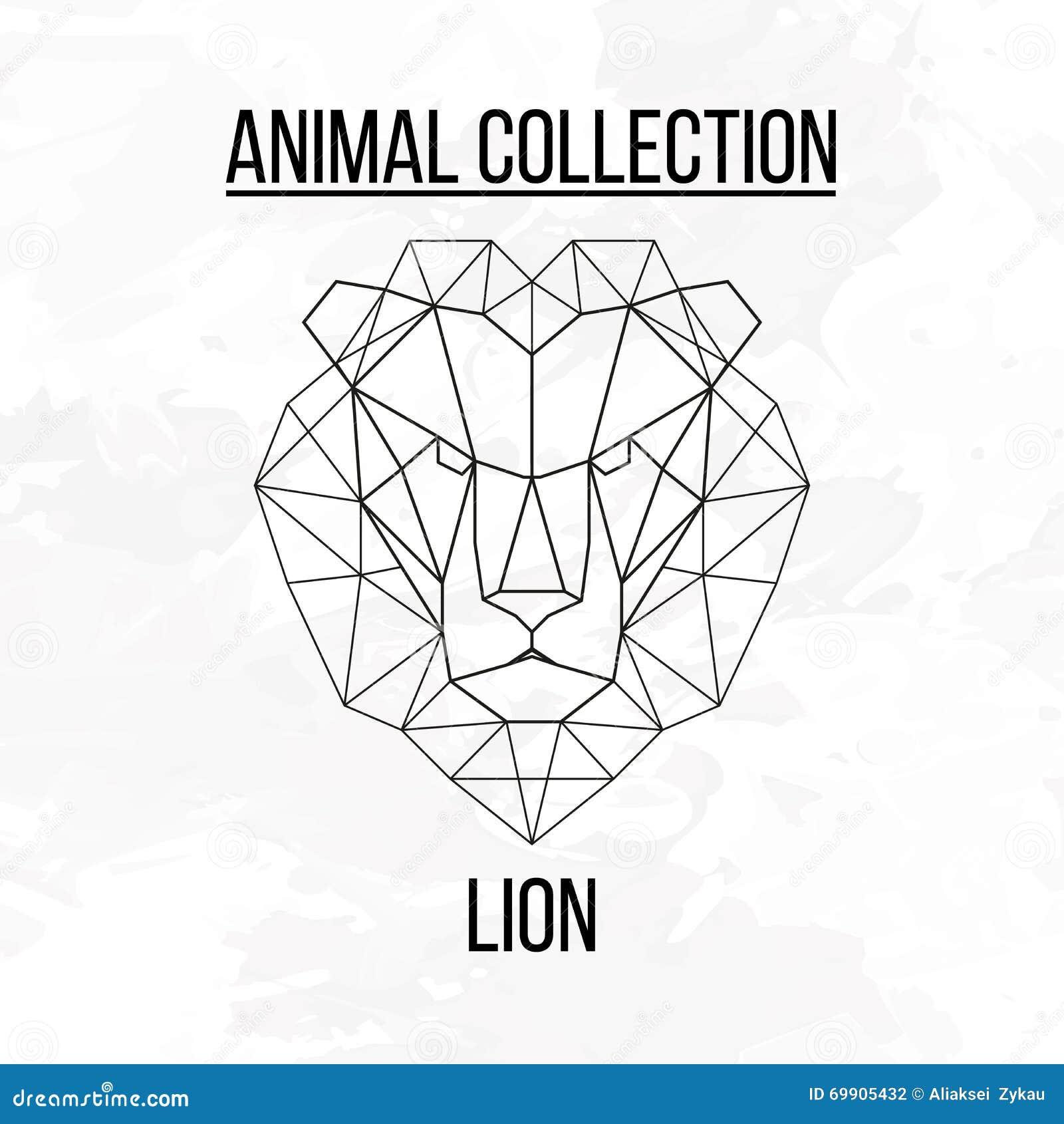 T te g om trique de lion illustration de vecteur image 69905432 - Tete de lion dessin facile ...