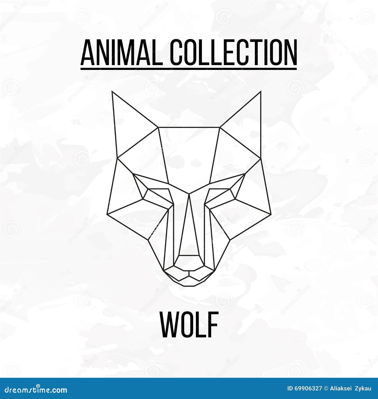 T te g om trique de loup illustration de vecteur image 69906327 - Tete de loup dessin ...