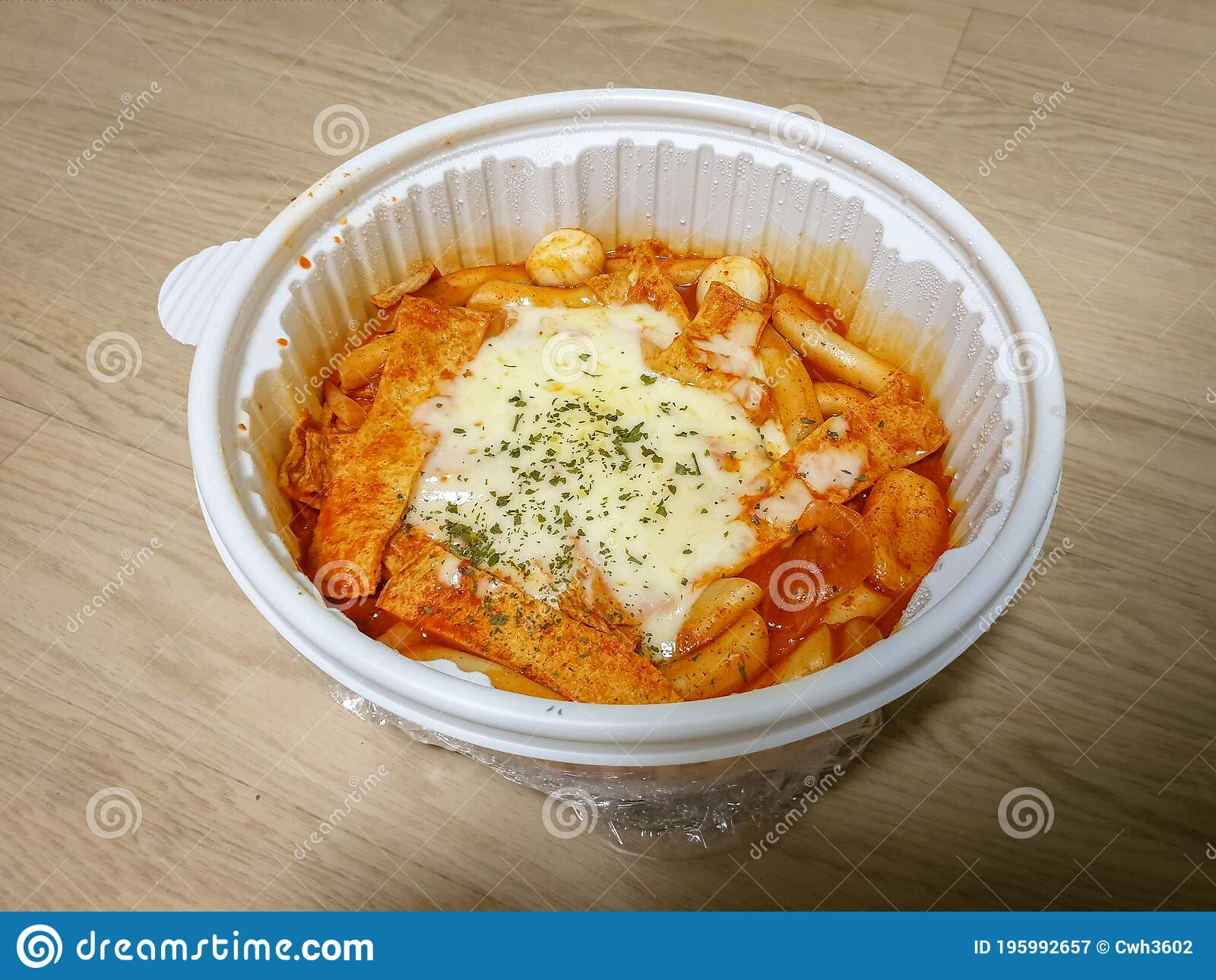 Tteok Bokki Or Stir Fried Rice Cakes Popular Korean Food Made From Small Sized Rice Cake Fish Cake And Boiled Egg Stock Image Image Of Delicious Local 195992657