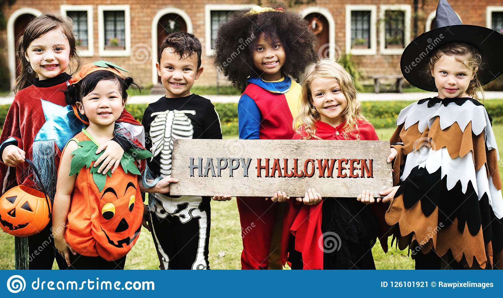 little kids at a halloween party stock image - image of girls