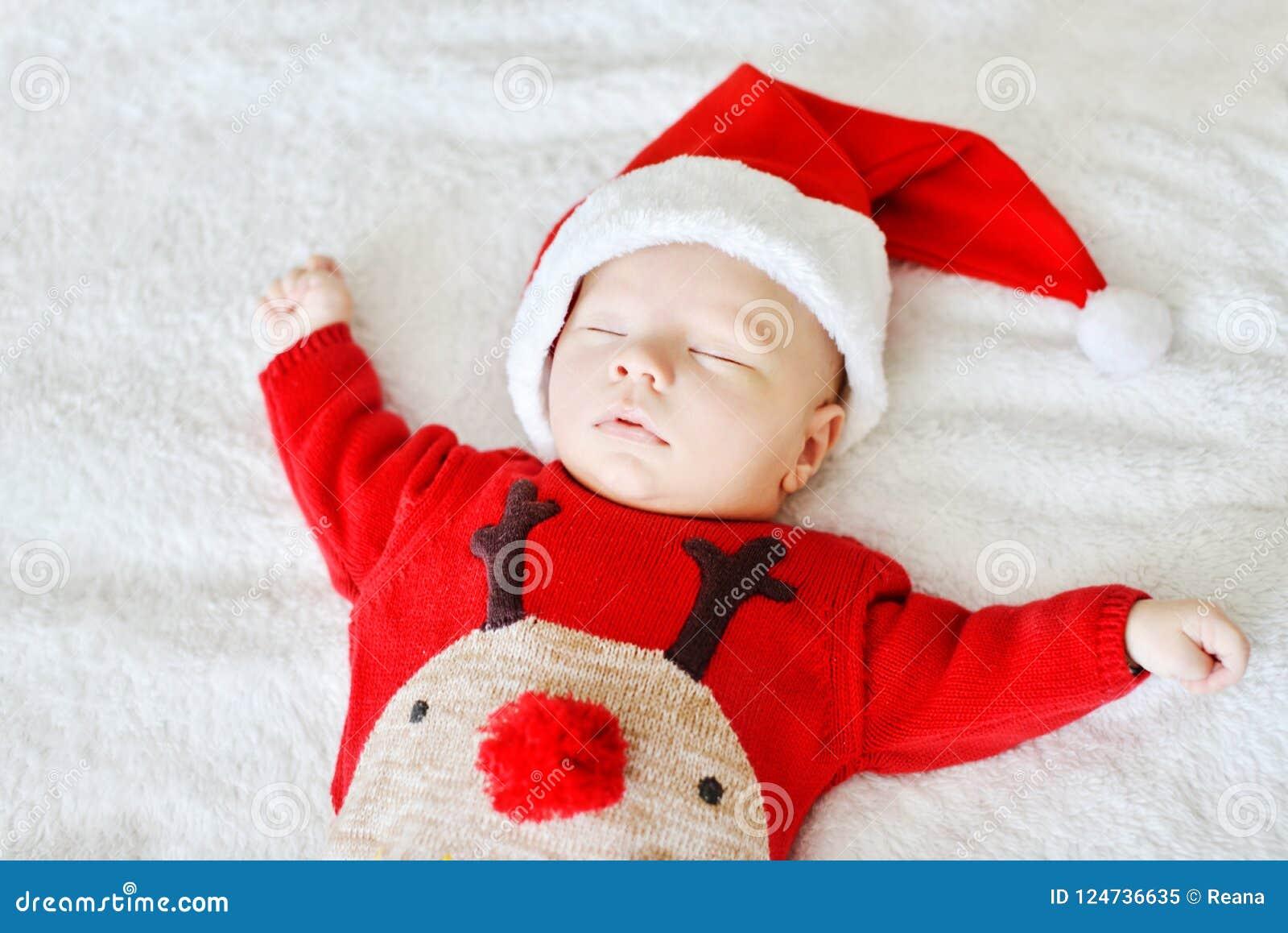 Sleeping Newborn Baby Santa Stock Image - Image of innocent a786c996505