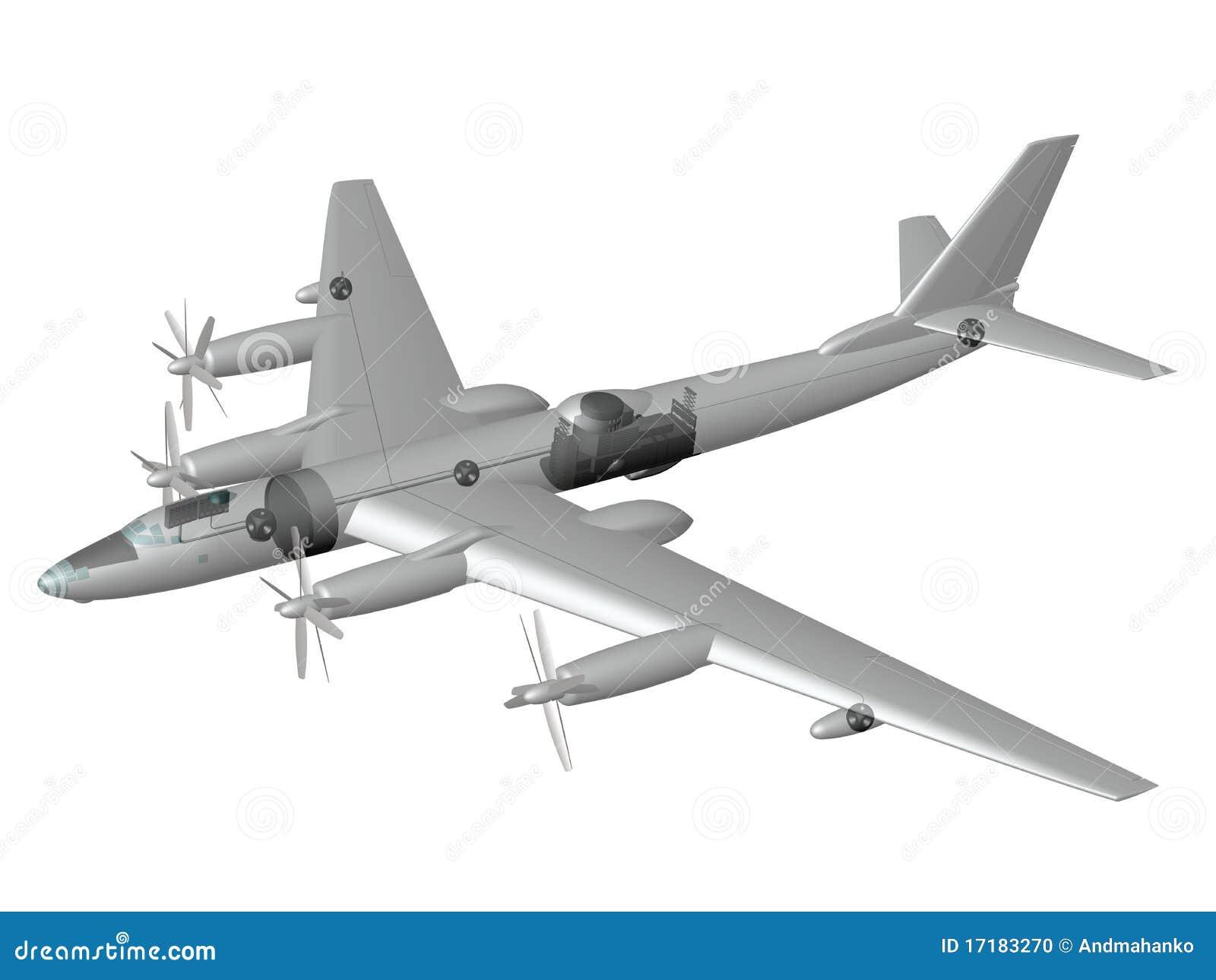 Tu 95lal Nuclear Flying Laboratory Stock Illustration