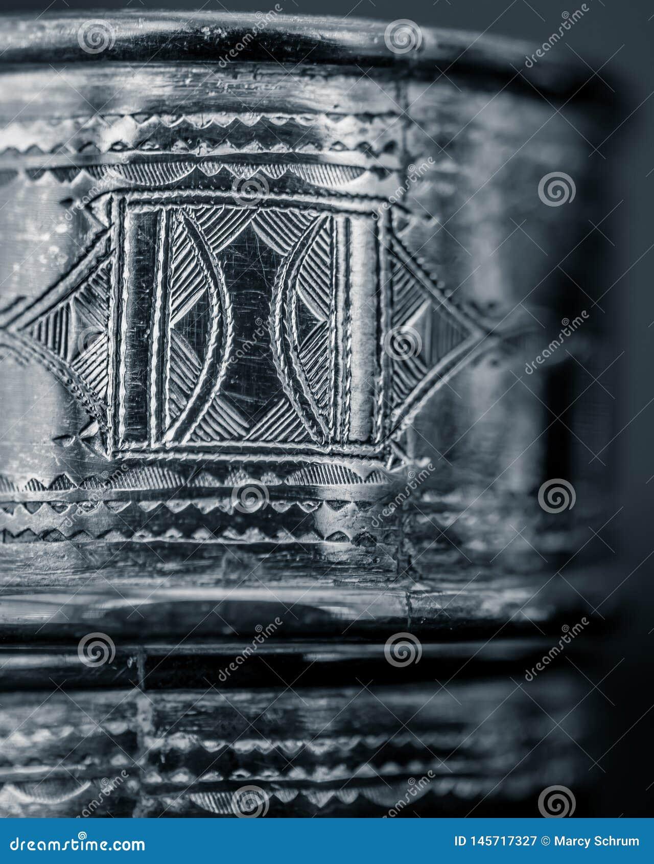 Tuareg Silver Engraving Detailed Close-up
