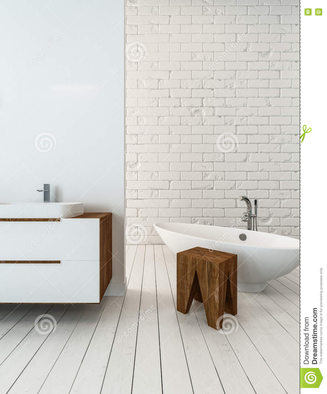 Tub And Stool Beside Sink In Bathroom Stock Illustration ...