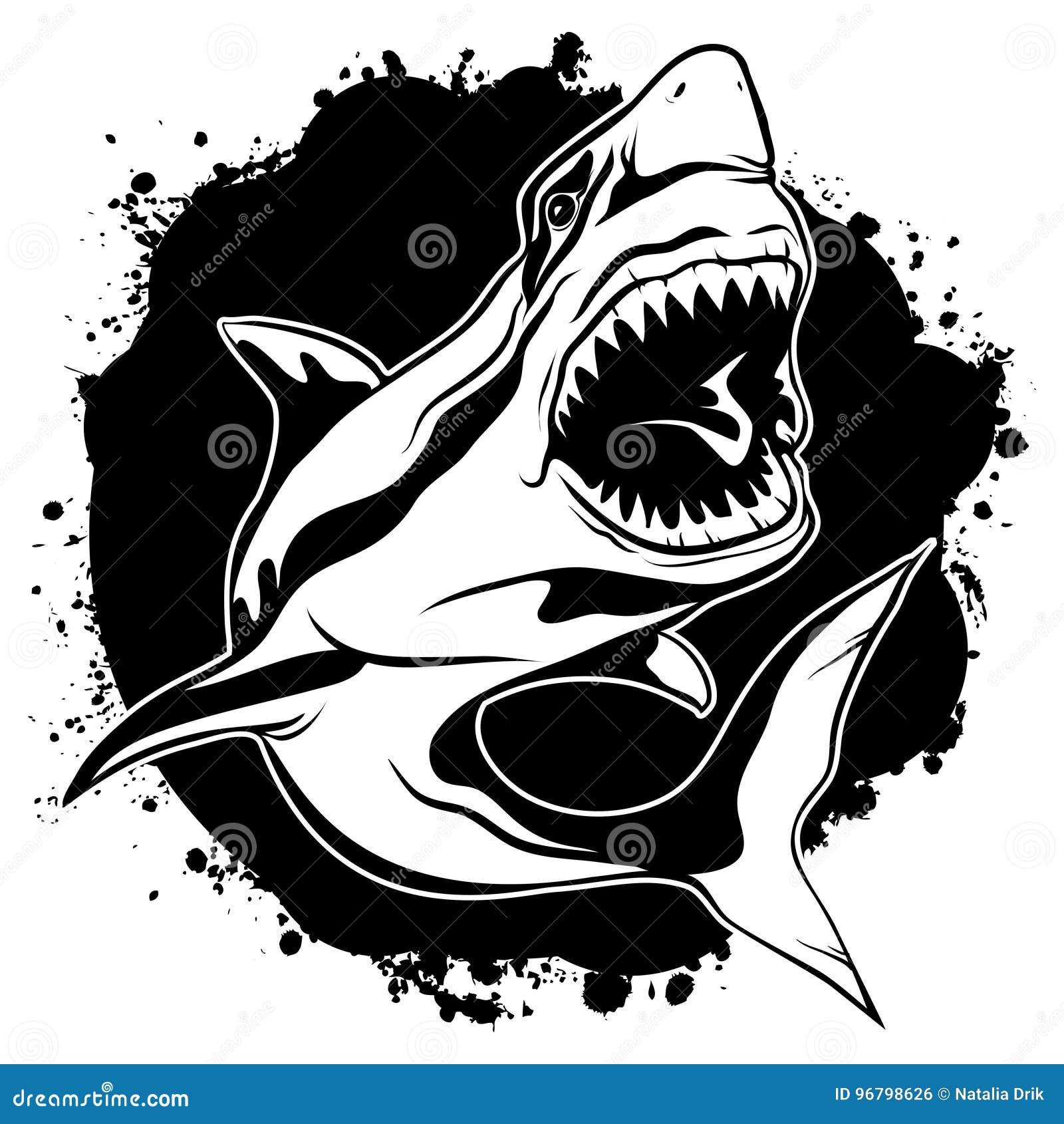 tubarão agressivo da tinta de desenho gráfico com boca aberta