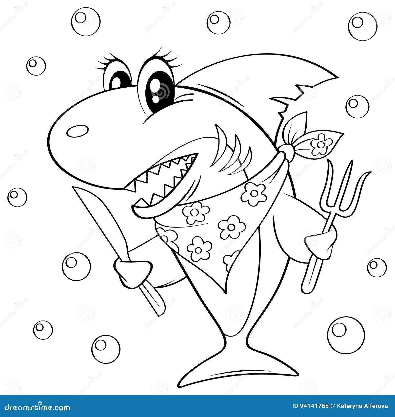 Tubarão Bonito Dos Desenhos Animados Com Forquilha E Faca