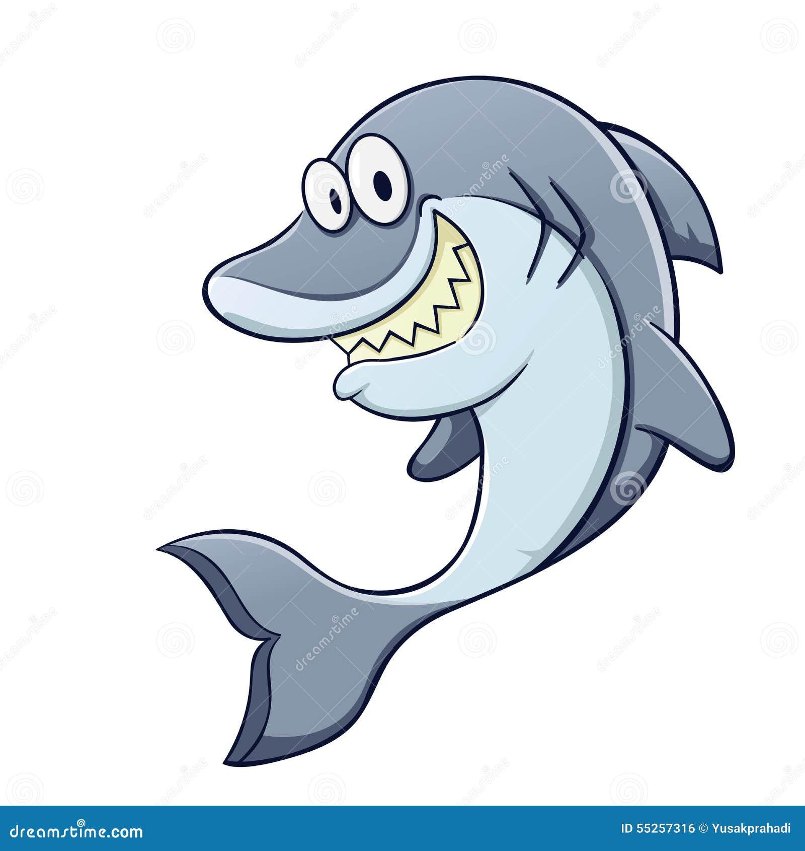 Tubarão Engraçado Dos Desenhos Animados Ilustração Do