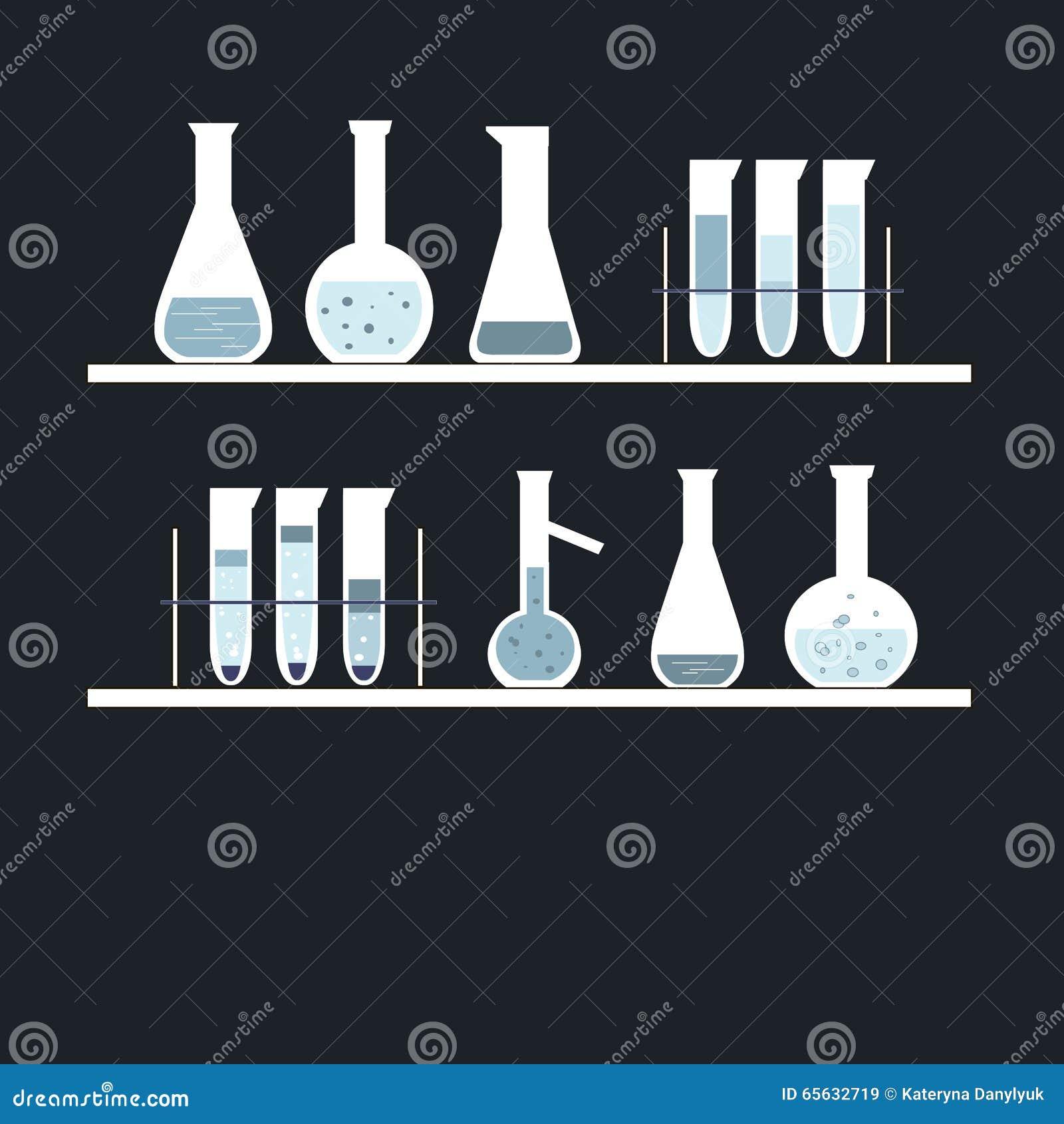 Tube à essai chimique sur des étagères, sur le noir Couleurs blanches, bleues, bleu-clair