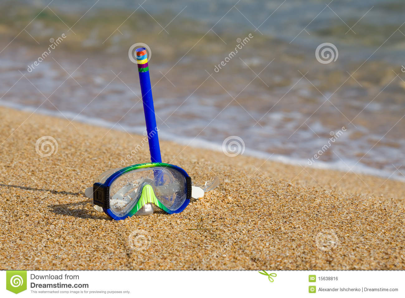 Tube And Mask For A Scuba Diving On Seacoast Stock Photo