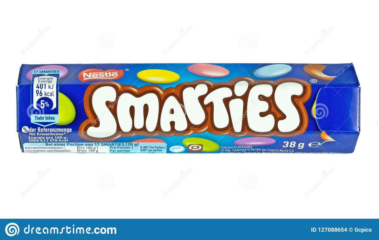 A tube of Nestle Smarties editorial stock image  Image of