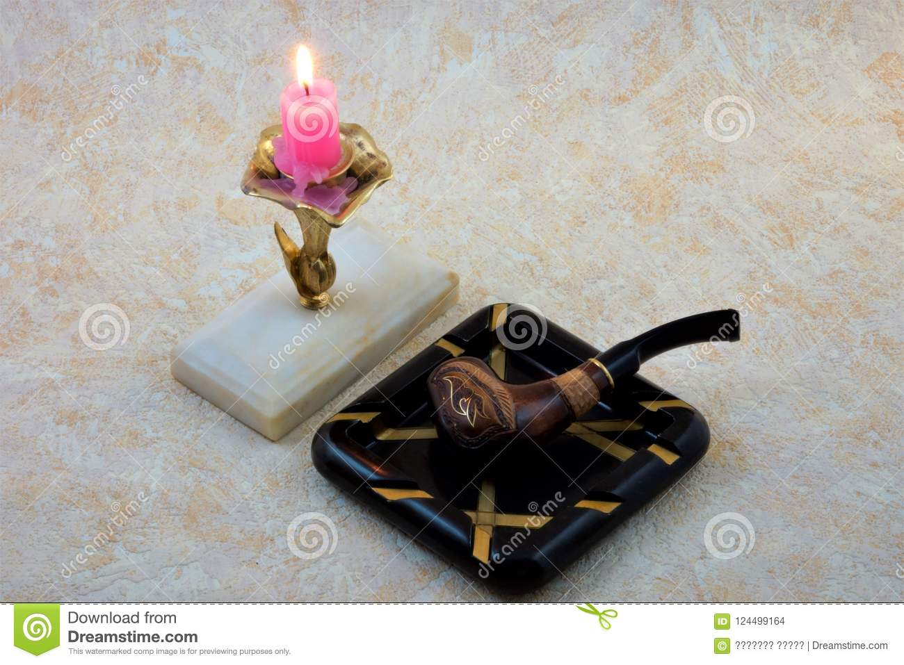 Pipe with Smoking tobacco ornament candle ashtray