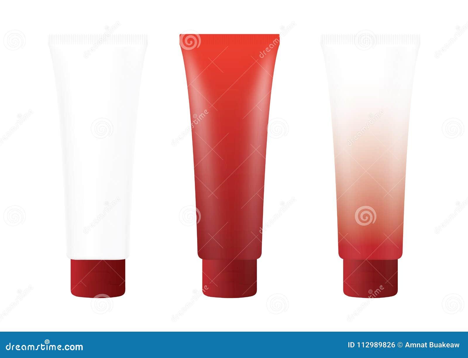 Tube Red Cream Foam Bottle on white background isolated, cosmetics, cream tube treatment tube white